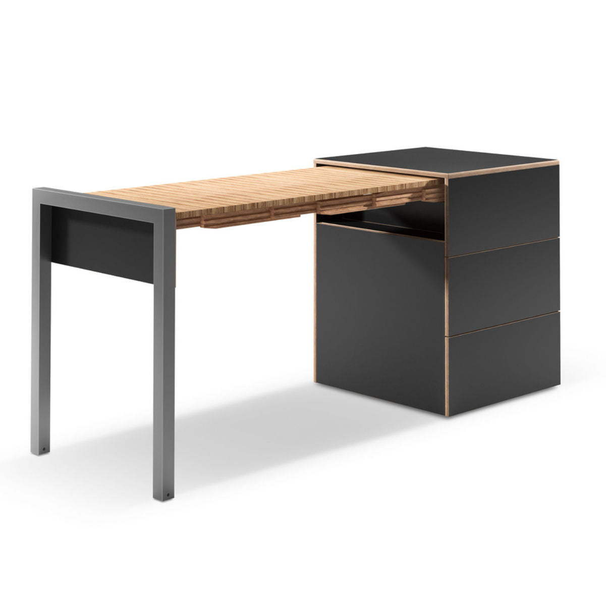 Alwin's Space Box Extendable Table Drawers , Super Matte Black-Beech Laminated Veneer