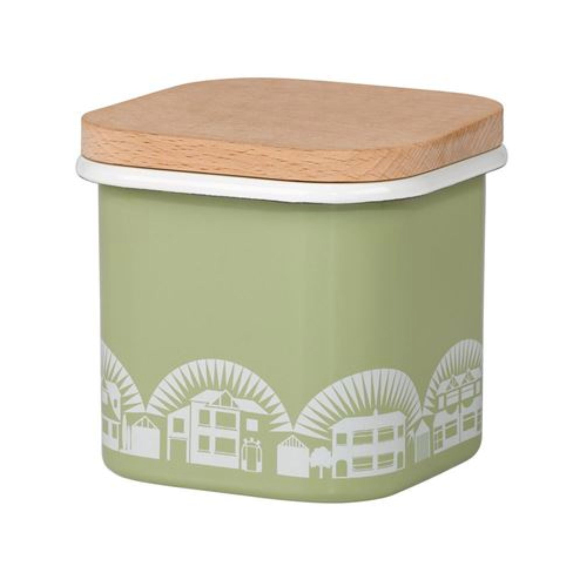 Wild and Wolf Enamel Lichen Green Storage Pot 700ml