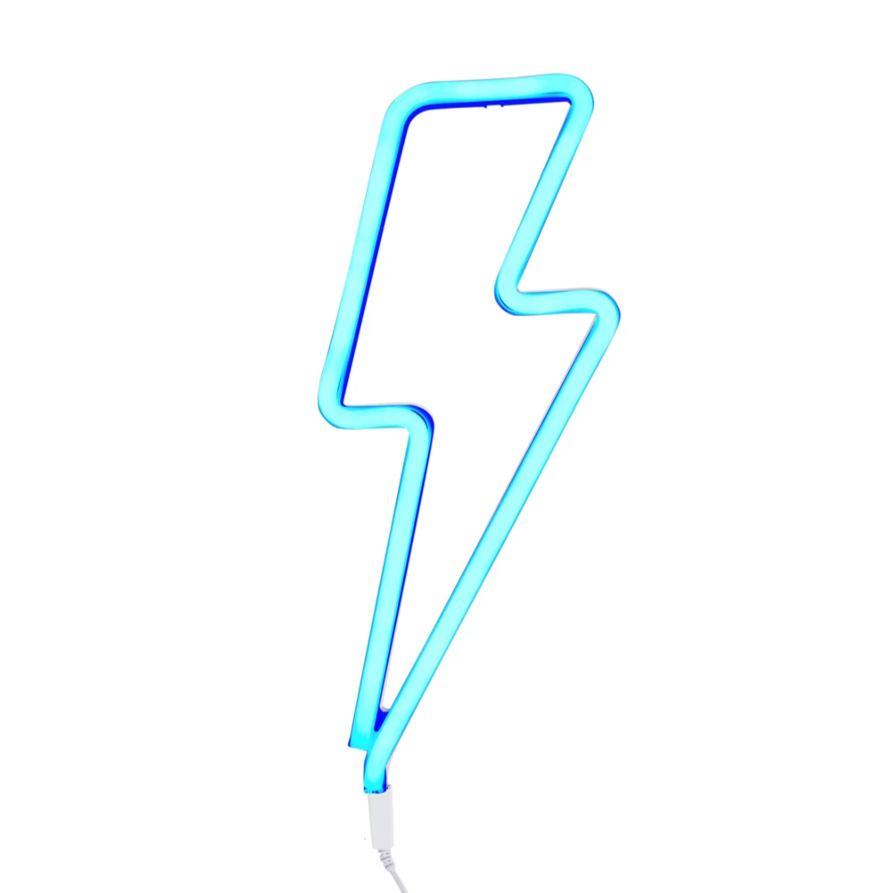A Lovely Little Company Neon Style LED Light Blue Bolt