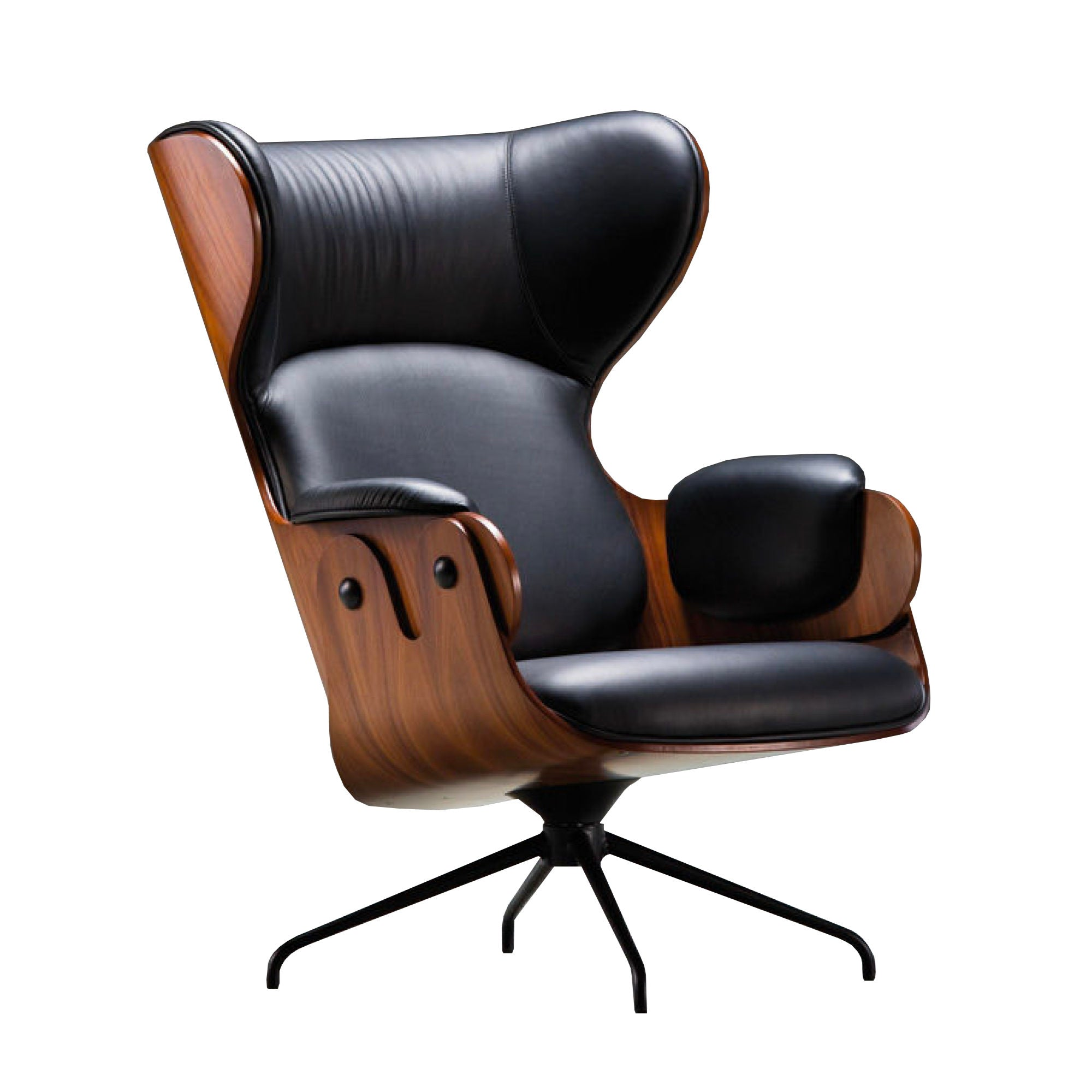 BD Barcelona Design Lounger , Walnut-Black Leather
