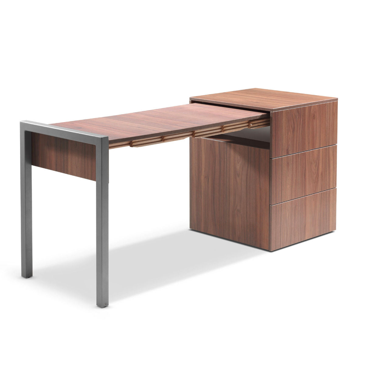 Alwin's Space Box Extendable Table Drawers , Walnut-Walnut
