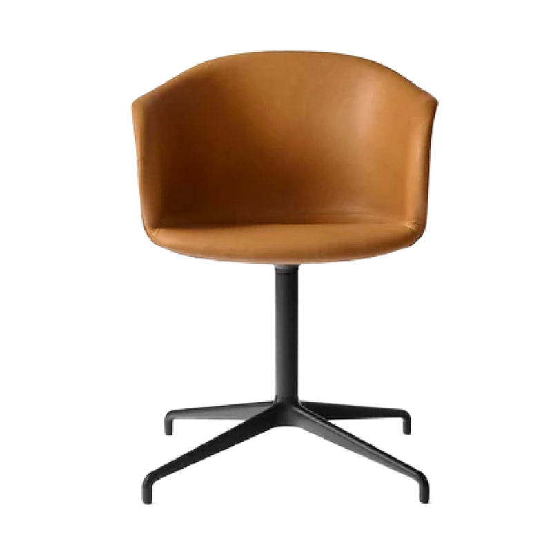 &Tradition Elefy JH33 Chair Swivel Base , Silk Cognac Leather-Black Base
