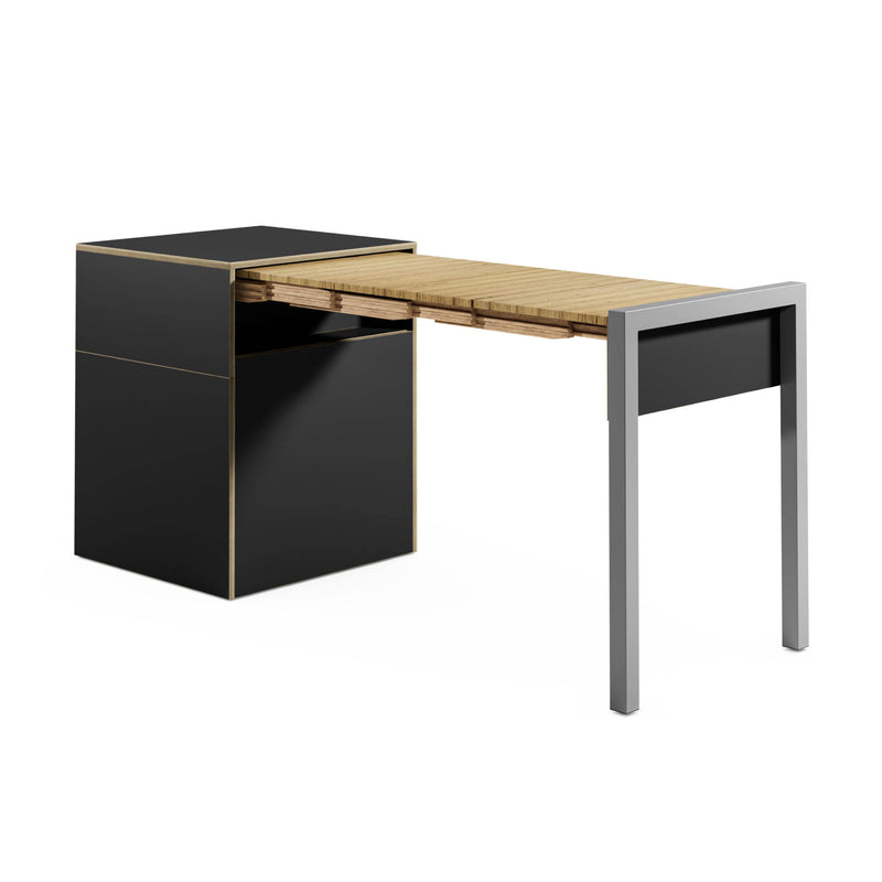 Alwin's Space Box W. Door Extendable Table , Super Matt Black/Beech Laminated Veneer