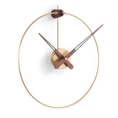 Nomon Micro Anda wall clock, brass, walnut hands