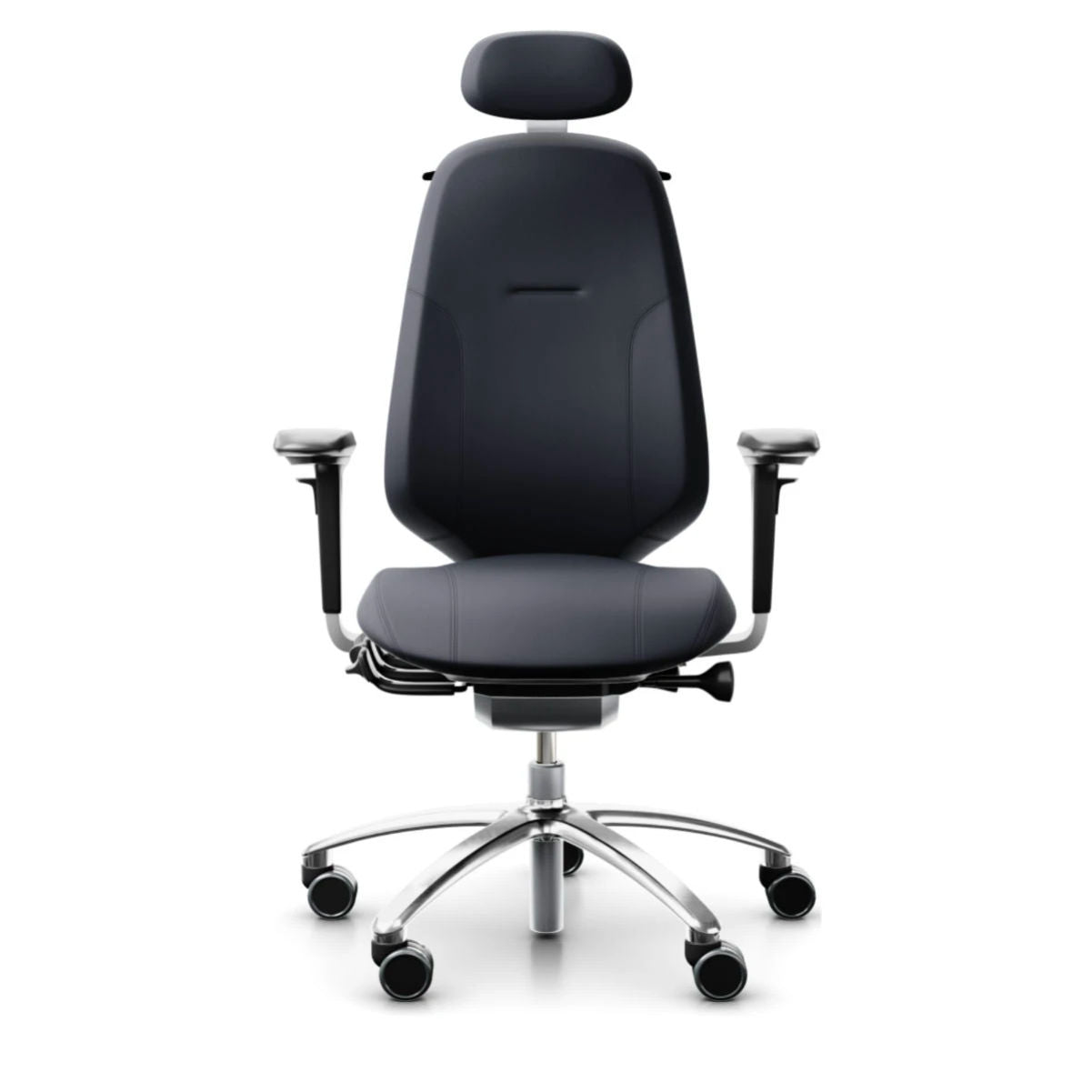 Flokk RH Mereo 300 silver task chair, leather, paloma soft atg55185