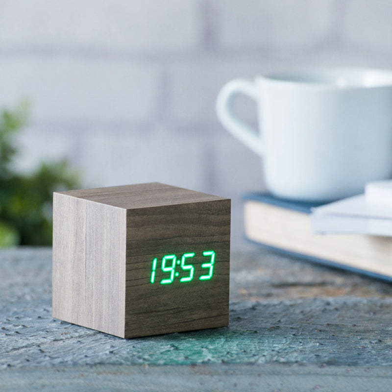 Gingko Cube Click Clock , Ash-Green LED