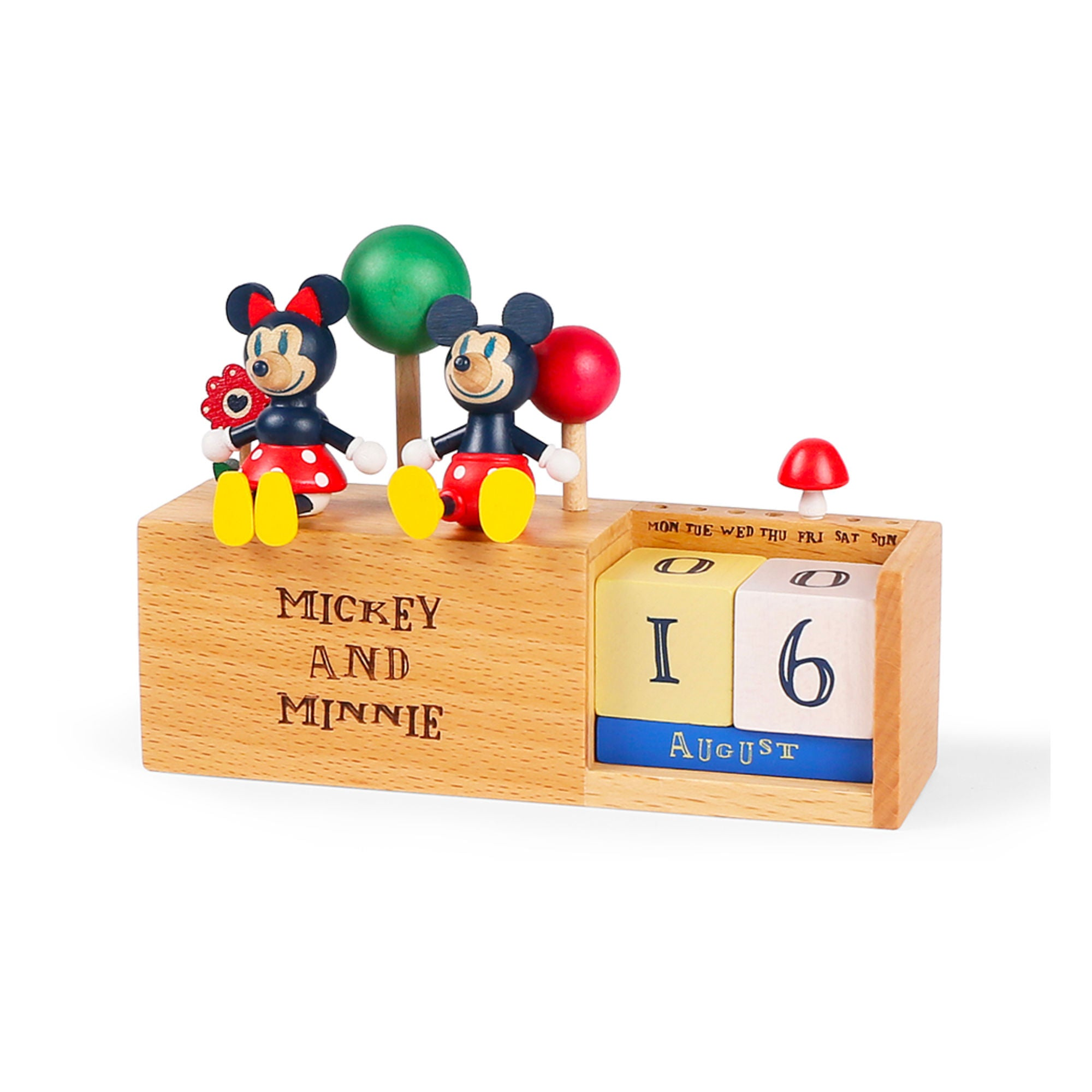 Wooderful Life wooden calendar, mickey and minnie