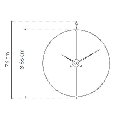 Nomon Mini Barcelona wall clock, walnut - black