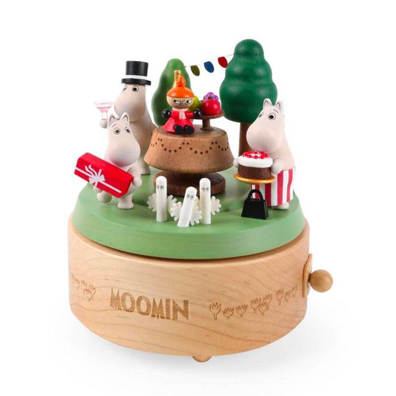 Wooderful Life wooden music box, Moomi family in party