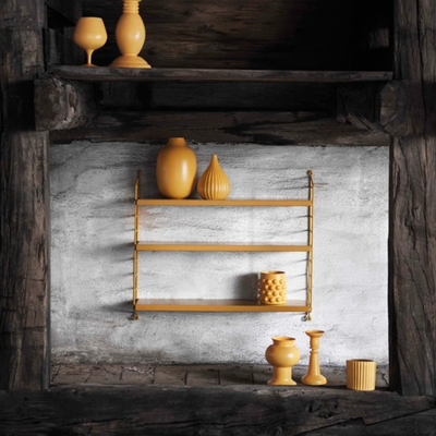String Pocket shelving, mustard, mustard