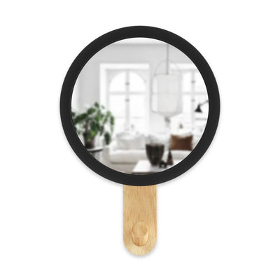 Umbra Hub Wall Hook Mirror , Black-Natural