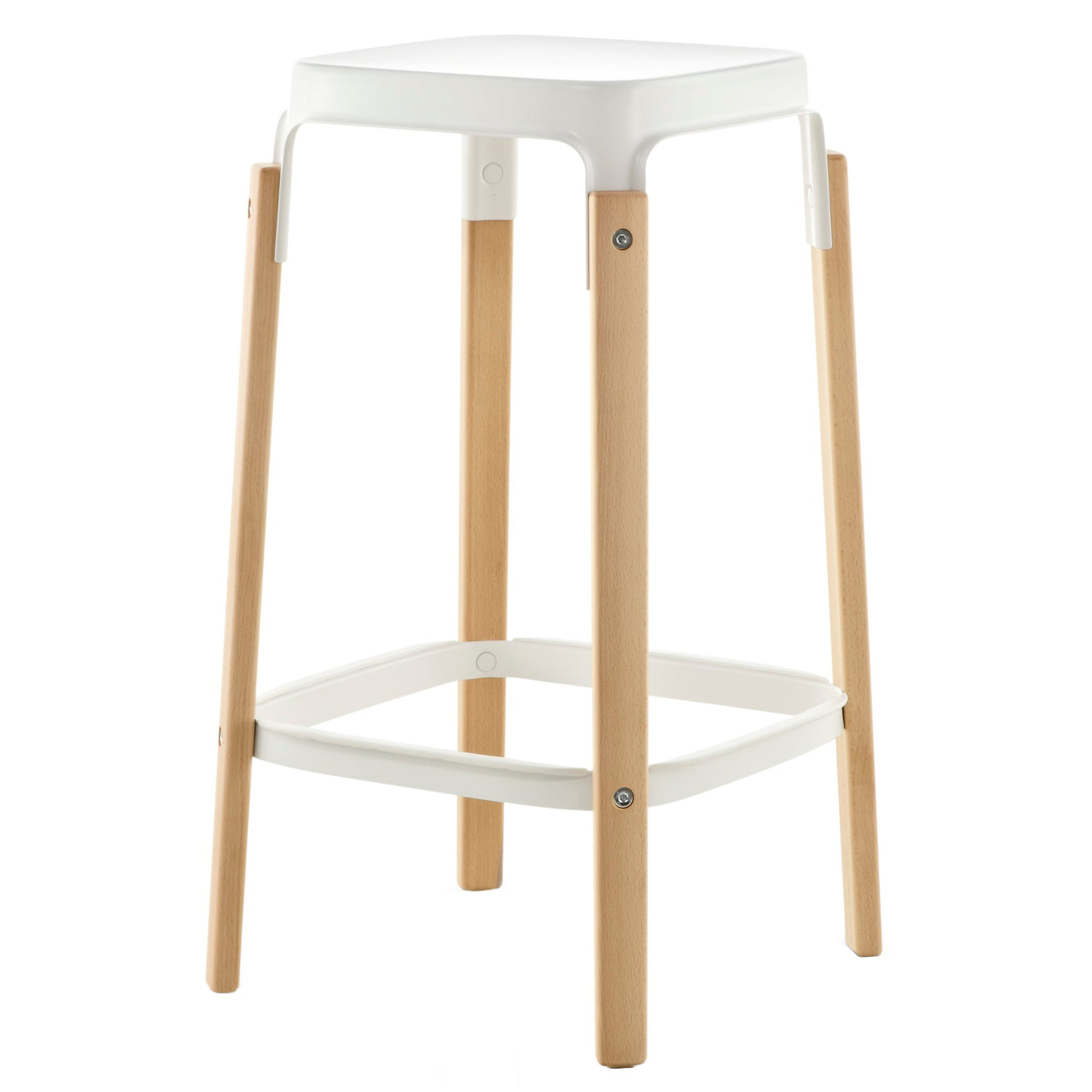 Magis Steelwood Bar Stool Natural Beech White . 68cm