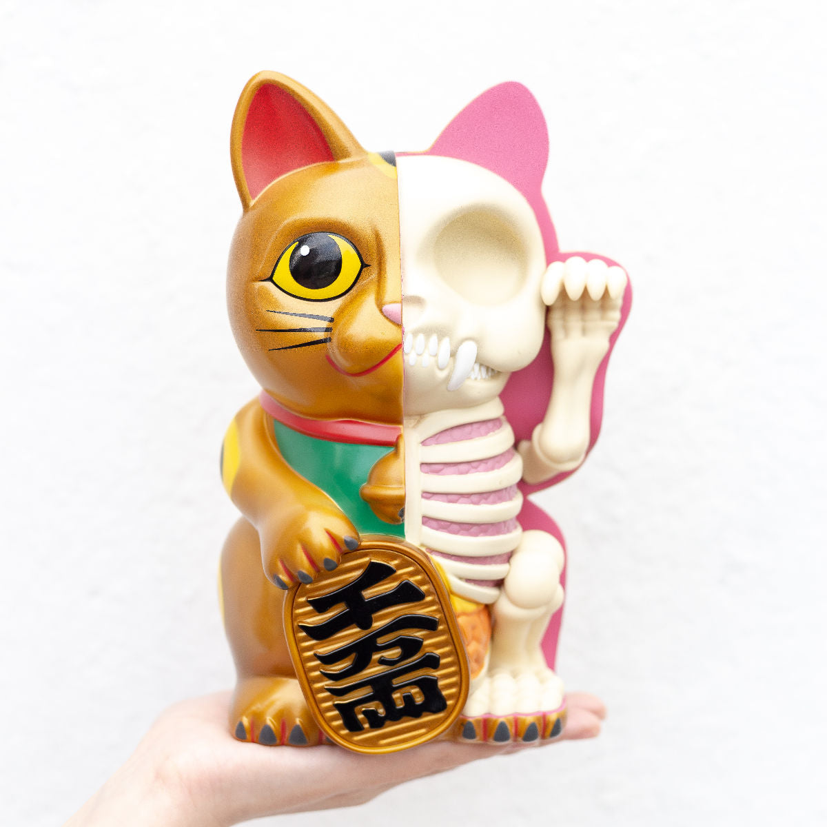 Fame Master Anatomy Maneki-neko money bank, gold