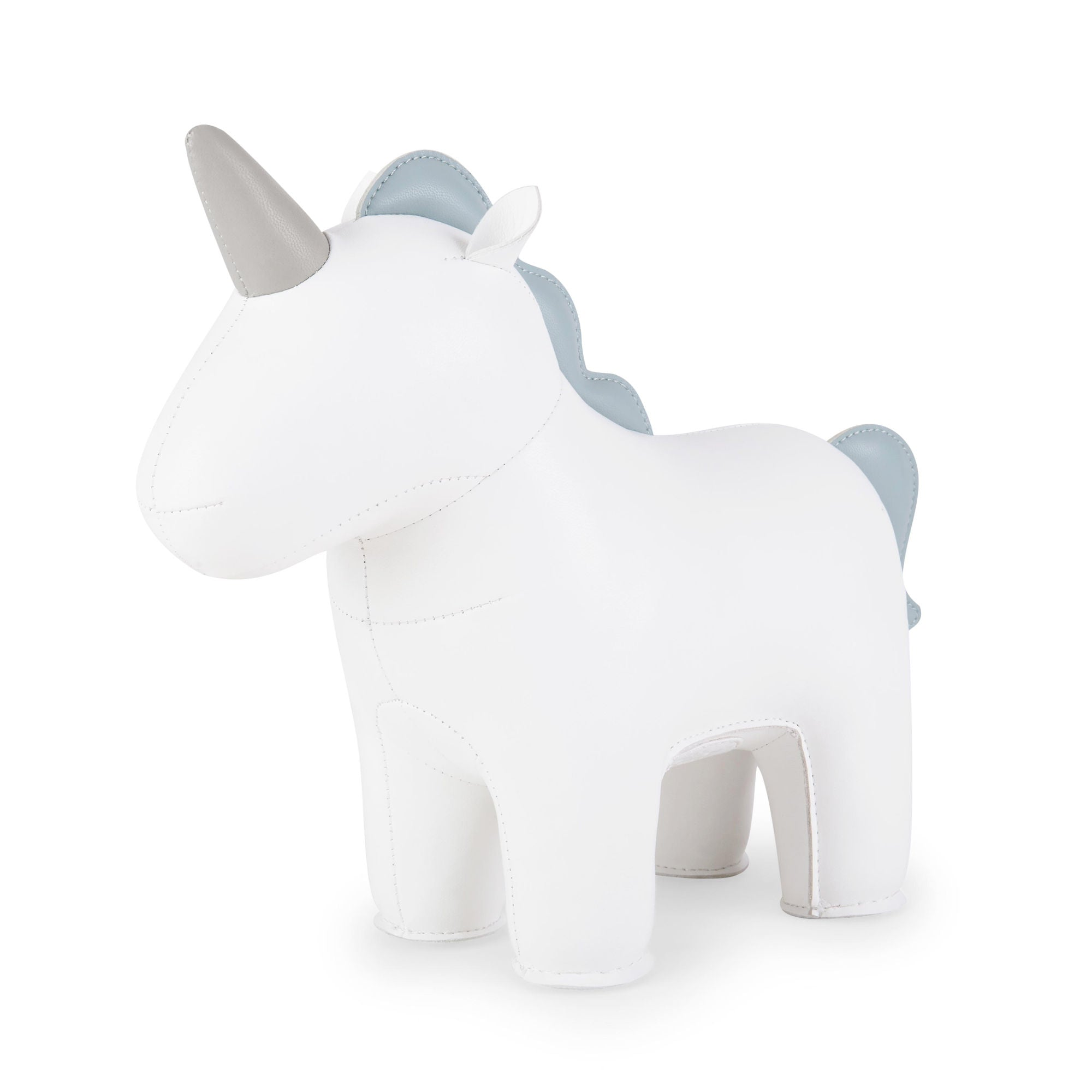 Zuny Unicorn Nico Bookend, White/SmokyBlue