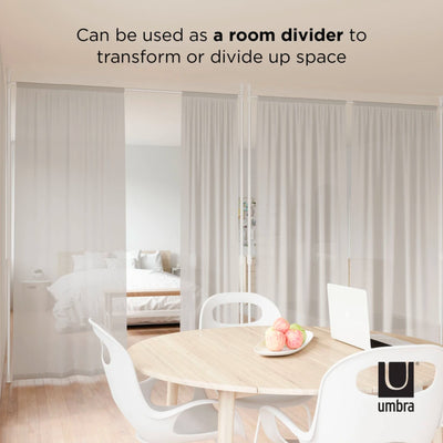 Umbra Anywhere curtain rod and room divider, metallic nickel