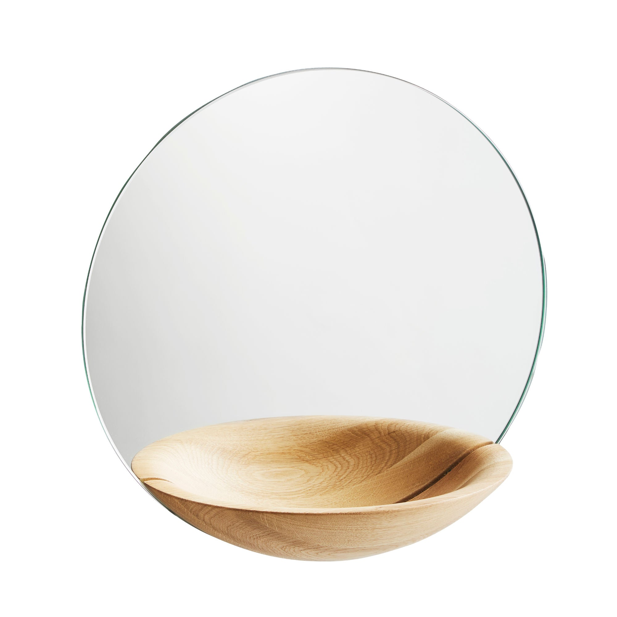 Woud Pocket Mirror Large , Lacquered Oak