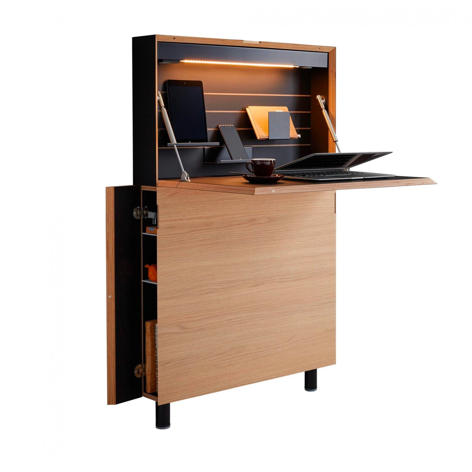 Mueller Flatmate Wall Desk w. USB , Oak