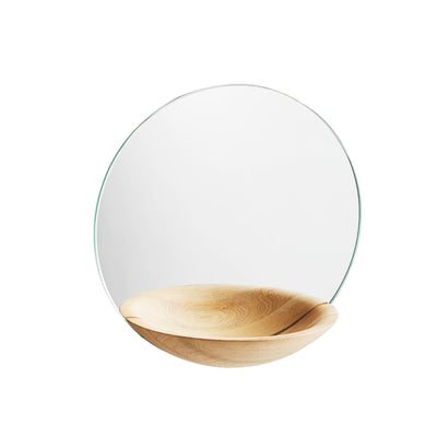 Woud Pocket Mirror Small , Lacquered Oak