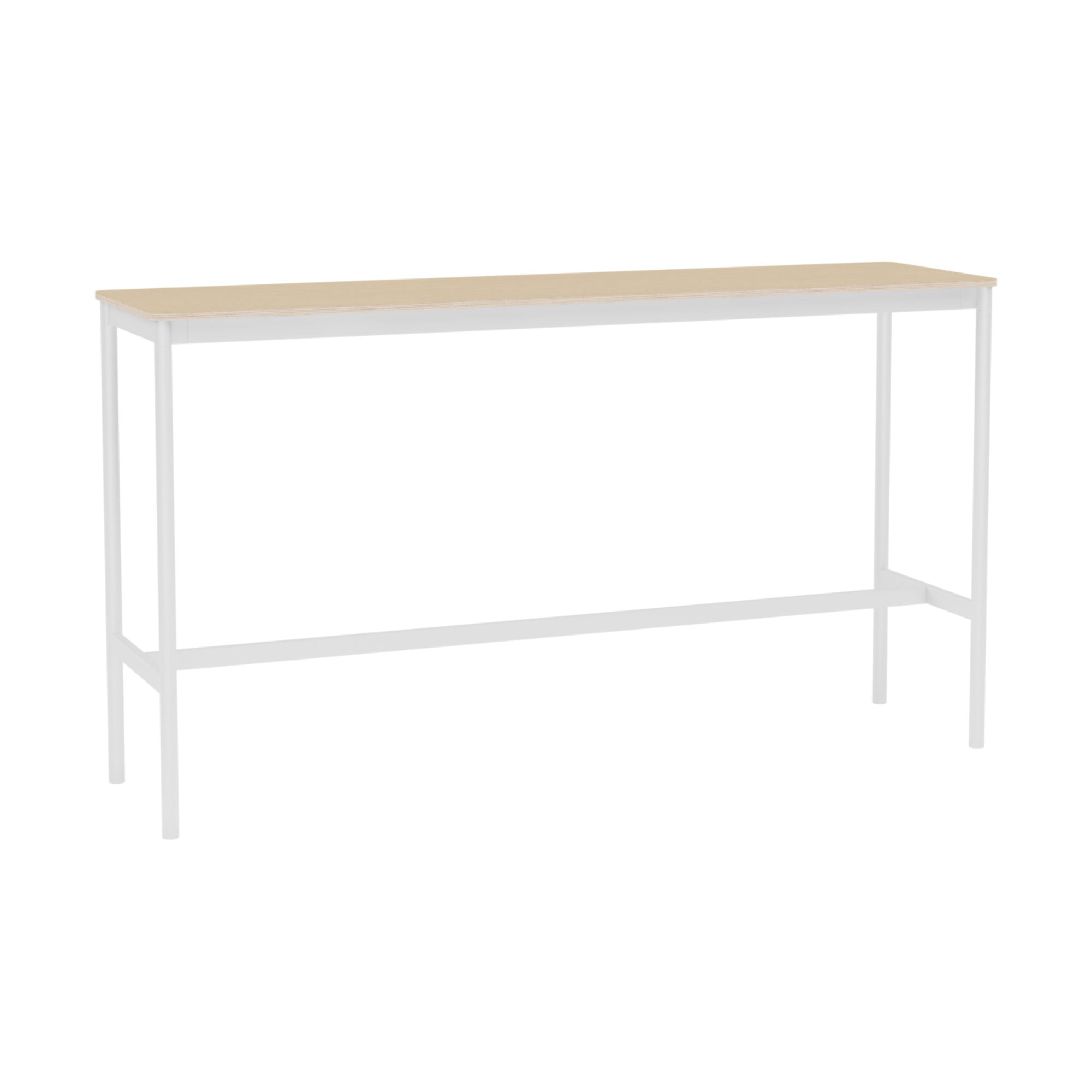 Muuto Base High Table 190x50 h:105cm , Lacquered Oak Veneer/Plywood/White