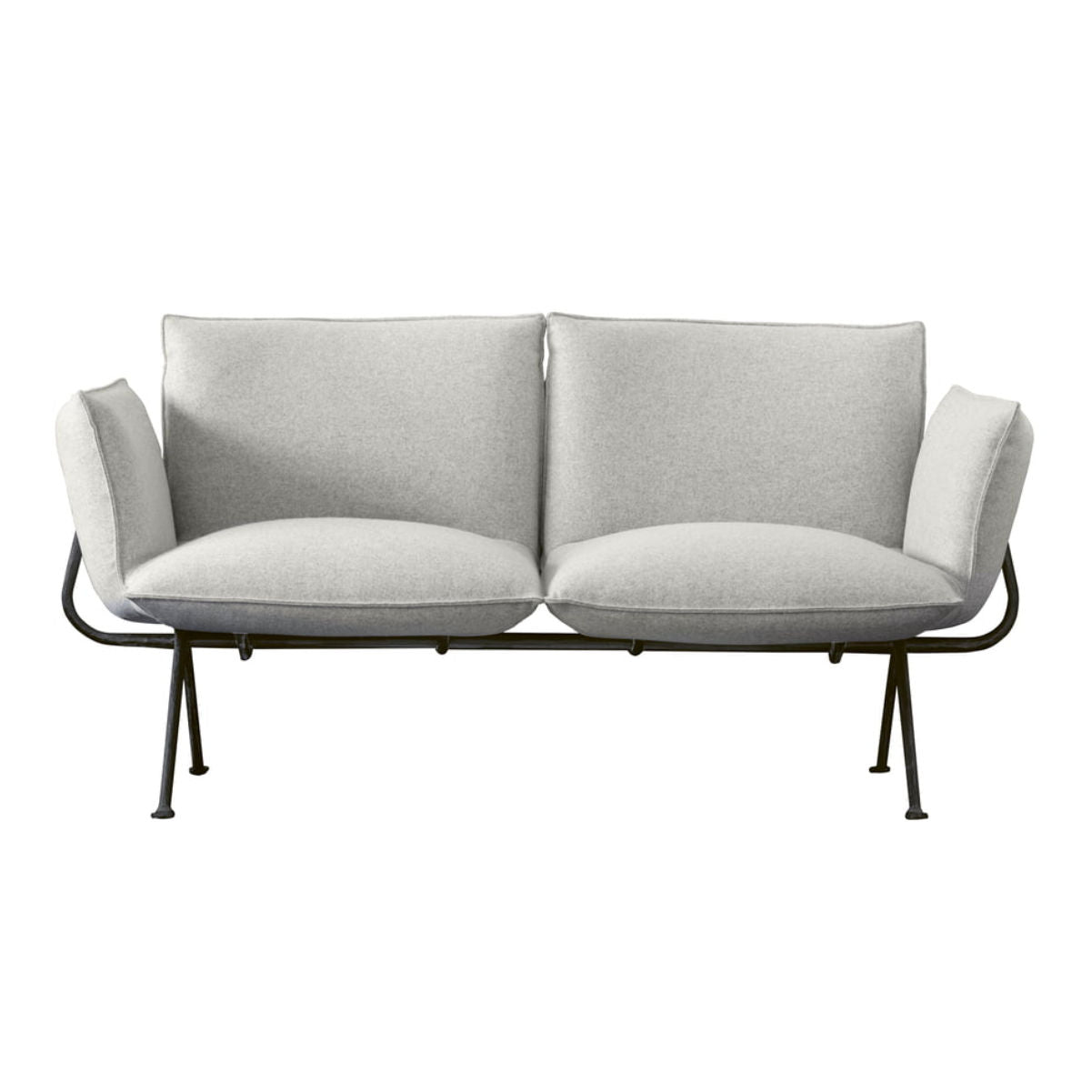 Magis Officina 2 seater sofa, divina melange 120, anthracite grey leg