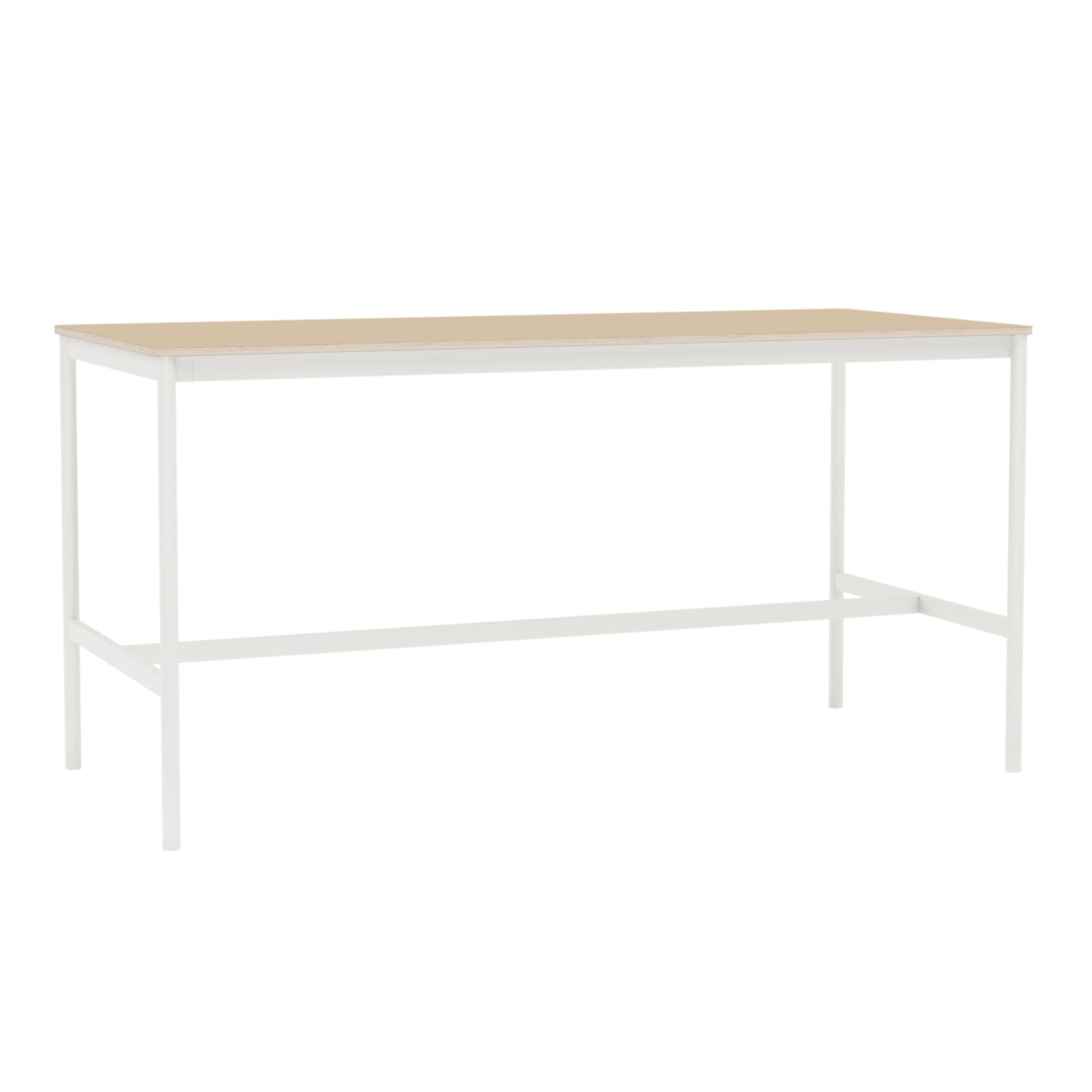 Muuto Base High Table 190x85 h:95cm , Lacquered Oak Veneer/Plywood/White