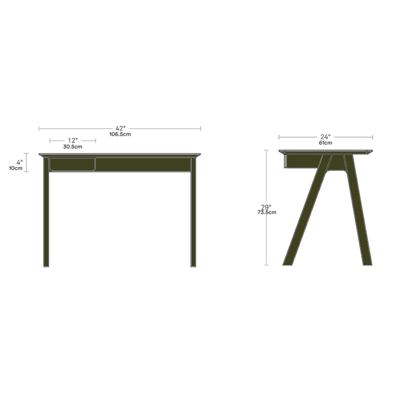 Blu Dot Stash Desk , Olive on Ash