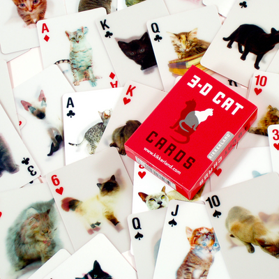 Kikkerland Playing Cards Cats 3D