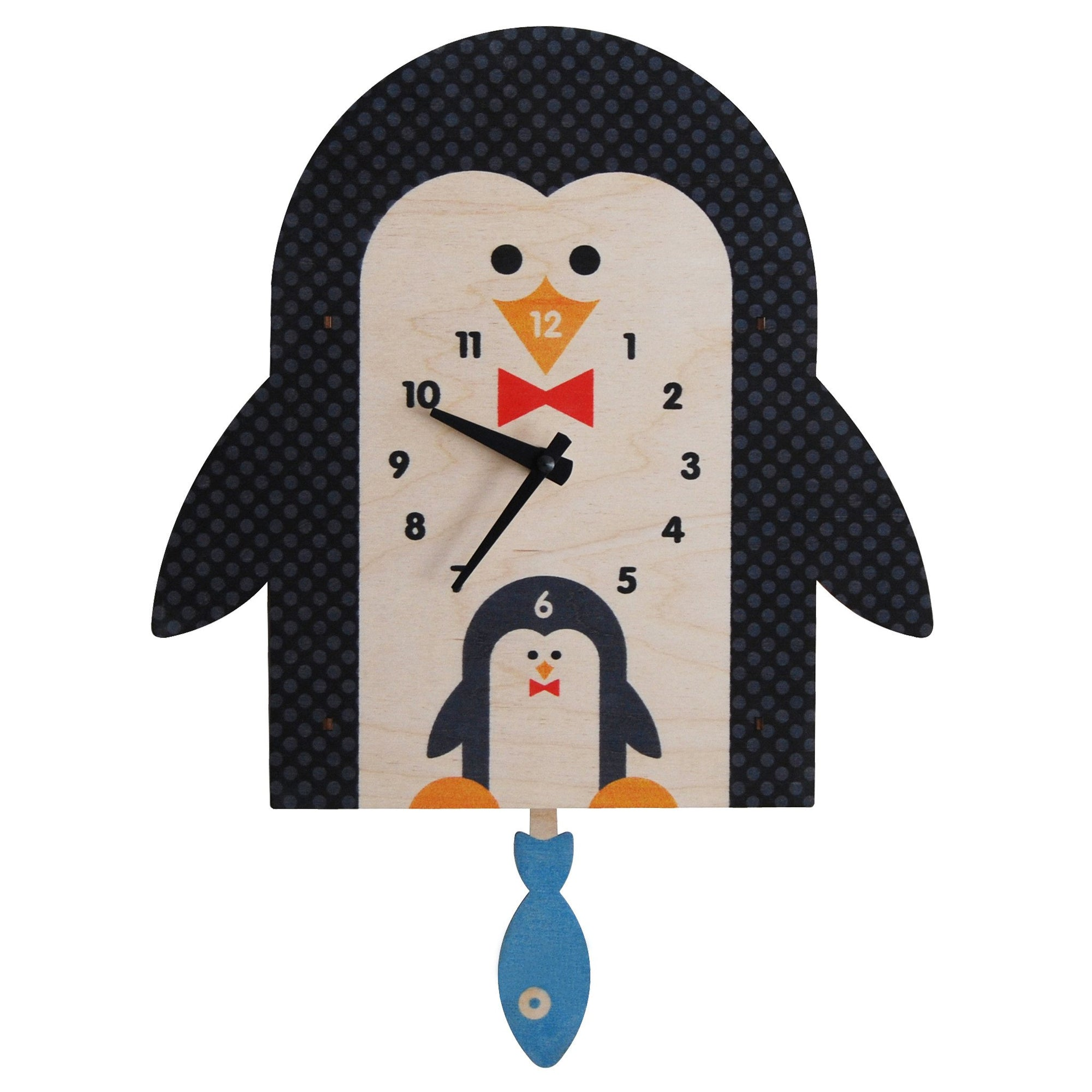 Modern Moose Penguin Wooden Pendulum Clock