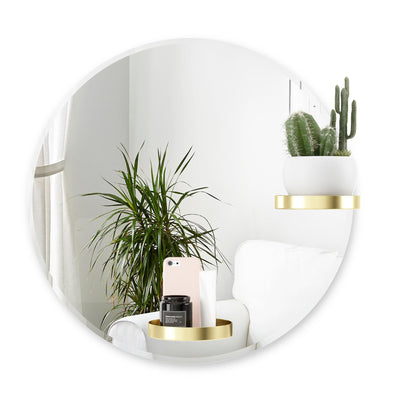 Umbra Perch Round Mirror w. Shelf 60cm , Brass