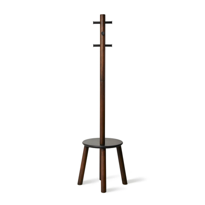 Umbra Pillar Stool & Coatrack , Walnut
