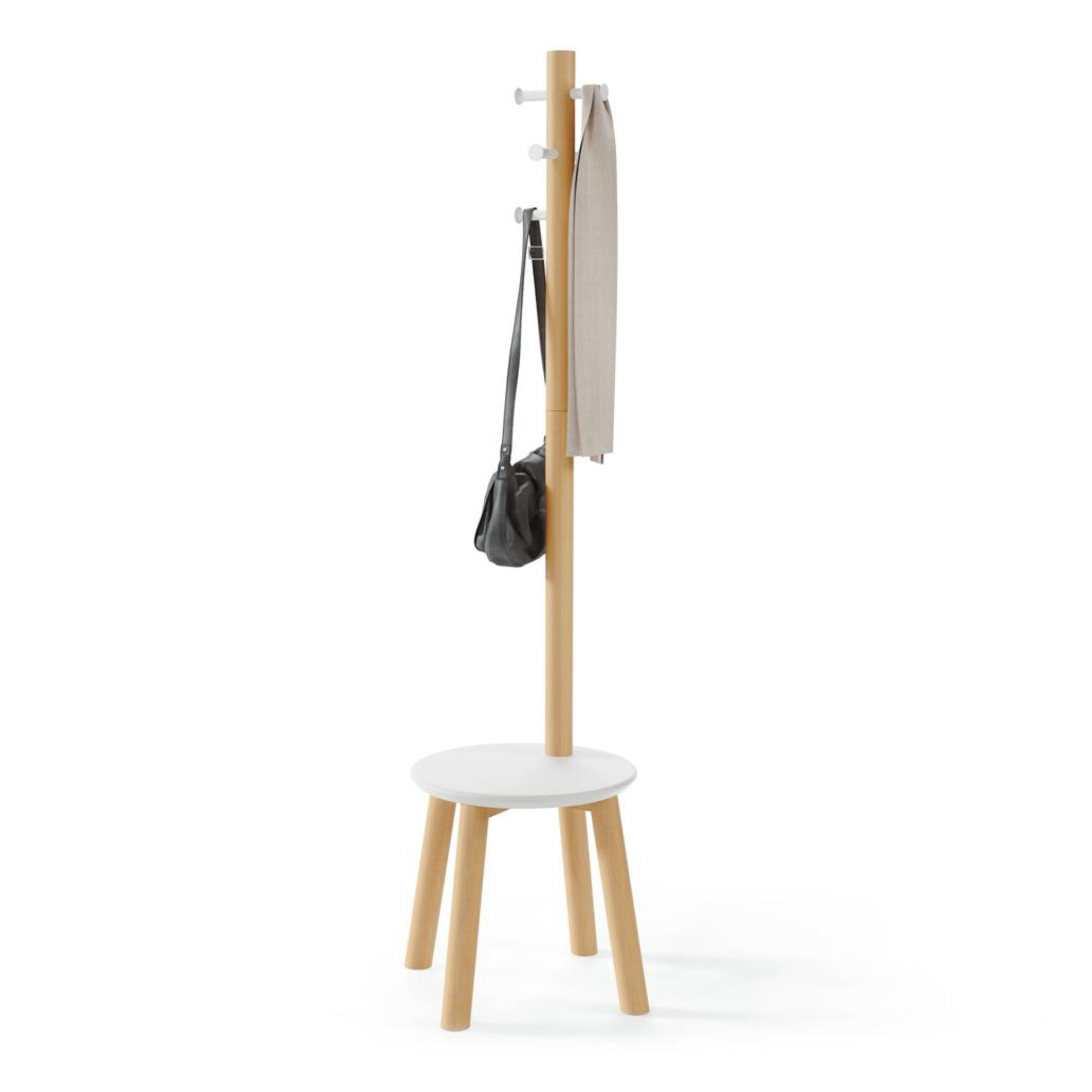 Umbra Pillar Stool & Coatrack , White