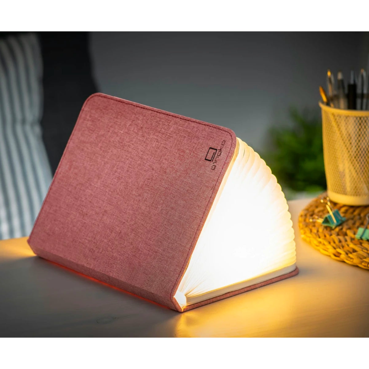 Gingko Smart booklight large , linen pink