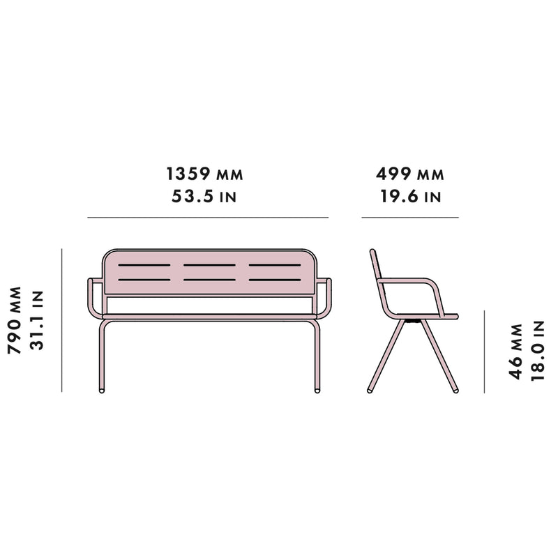 Woud Ray Bench w. Armrest , Rose Pink