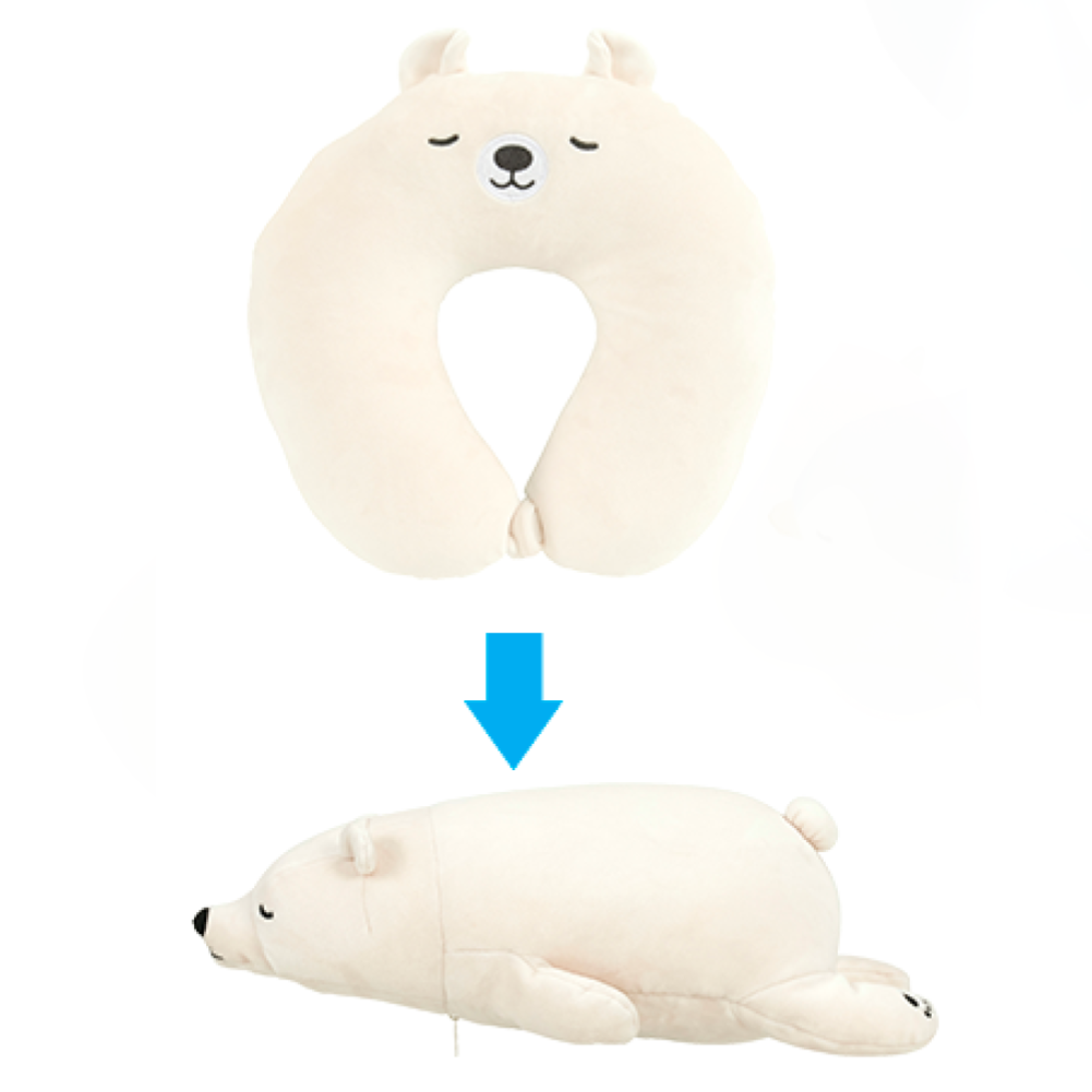 Nemunemu Polar Bear 2-Way Cool Travel Pillow