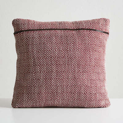 Woud Diamond Cushion , Indian Red