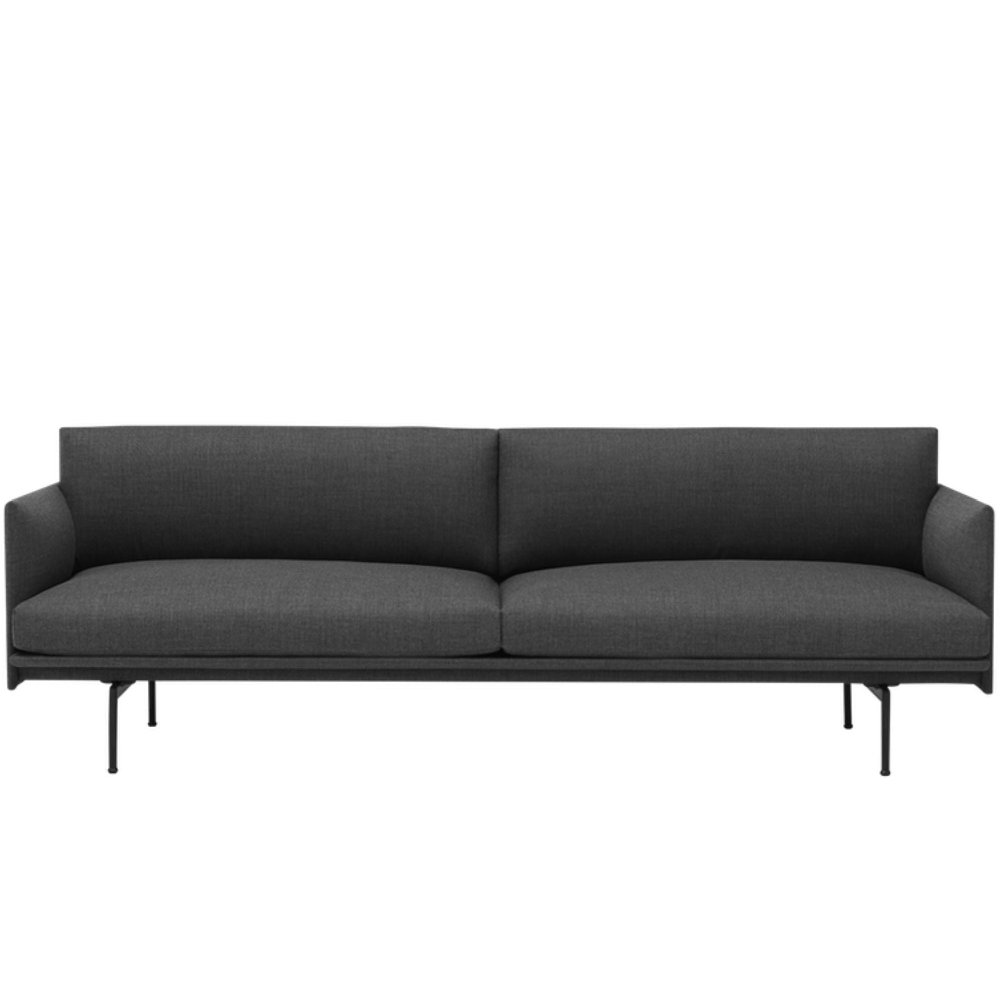 Muuto Outline Sofa 3-Seater Black Base , Remix 163