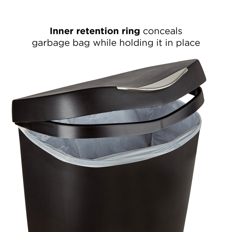 Umbra Brim Trash Can 50L , Black-Nickel