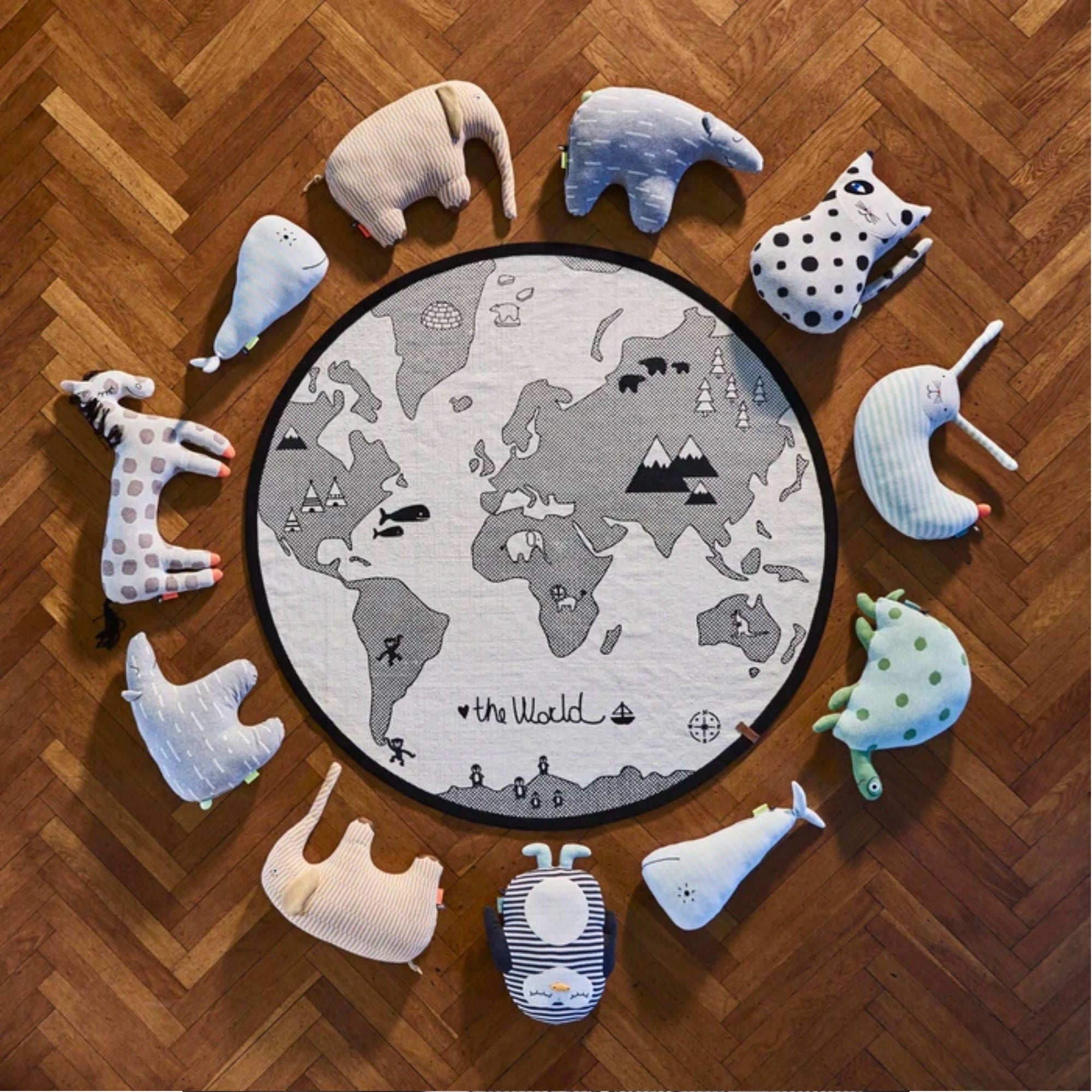 OYOY World Rug Dia135cm , Off White-Black