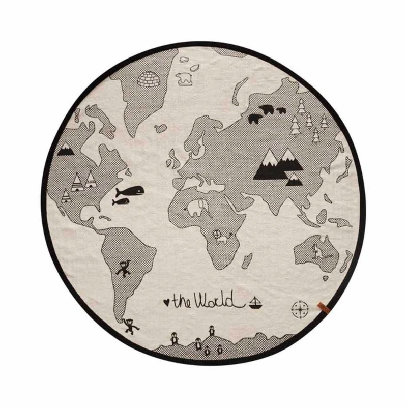 OYOY World Rug, Off White-Black (Ø135 cm)