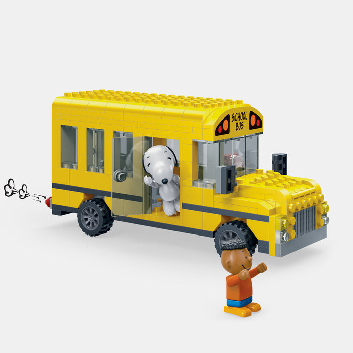 Snoopy Yellow Bus Brick Toy