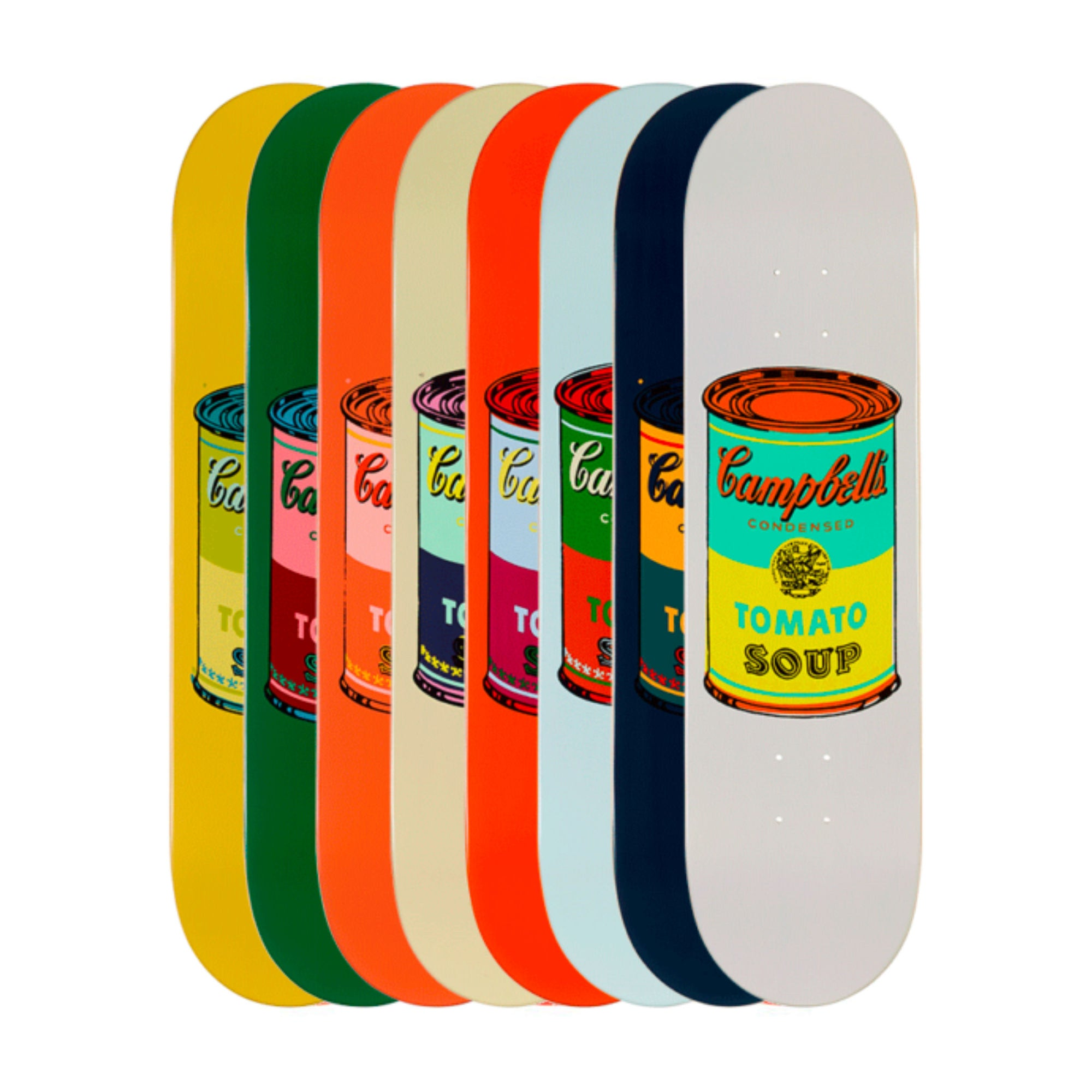 The Skateroom skateboard, Andy Warhol Set of 8 Colored Campbell's Soup Cans
