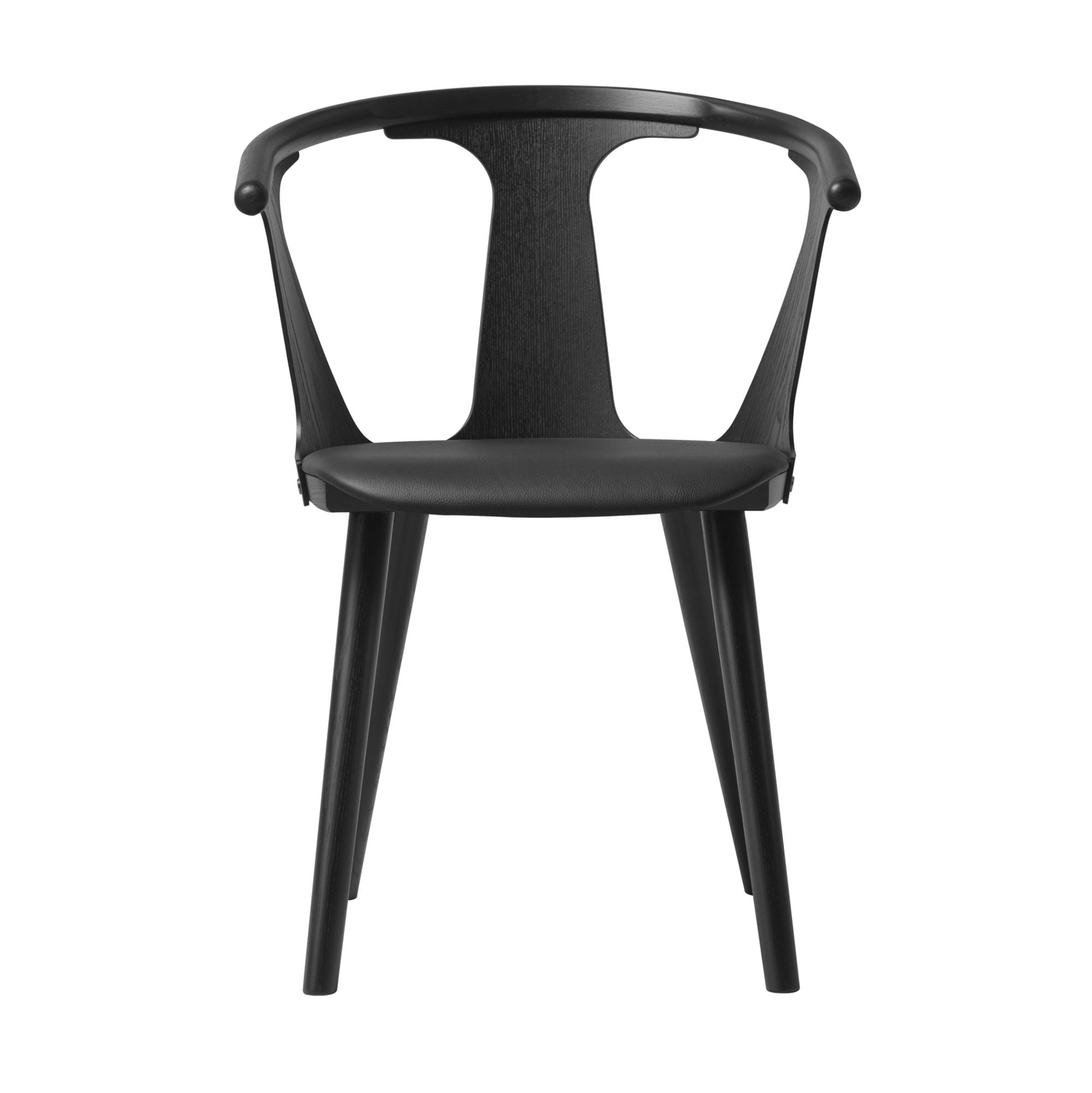 &Tradition SK2 In Between Chair , Black Silk leather - Black Lacquered Oak