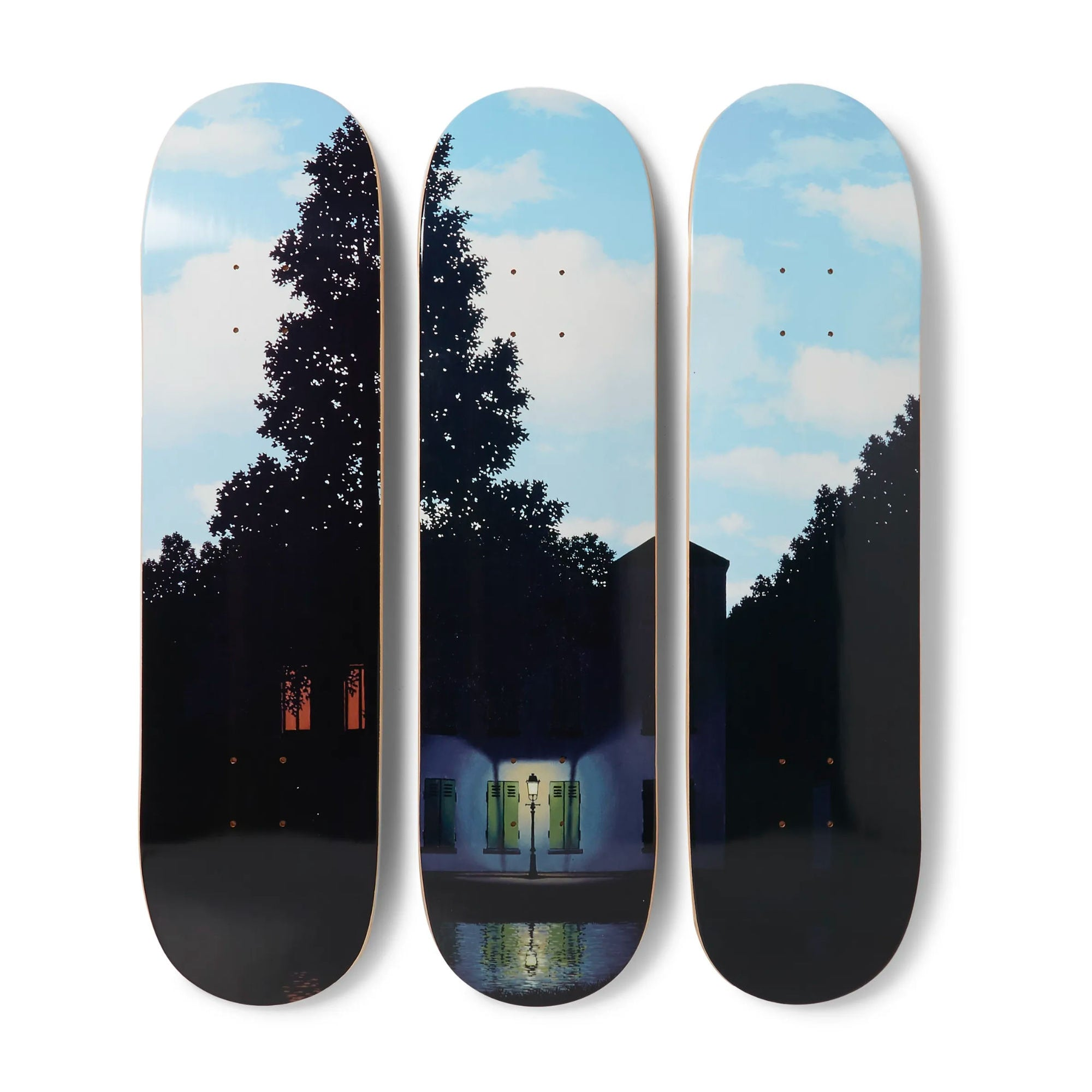 The Skateroom skateboard set, René Magritte L'Empire Des Lumières