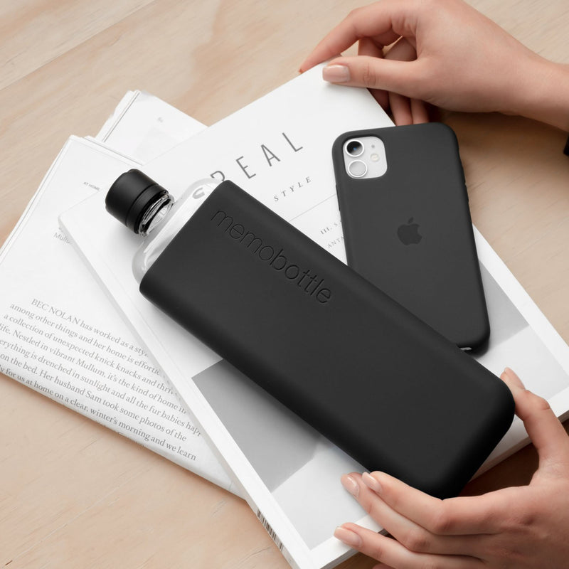 Memobottle Slim Silicone Sleeve , Black Ink