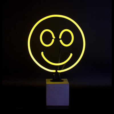Locomocean Neon Lamp Concrete Base , Smiley