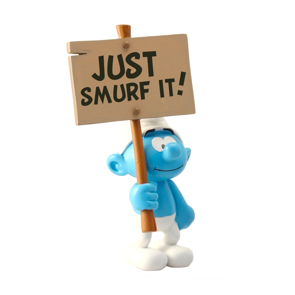 Plastoy Smurf with Just Smurf It Sign 14.5cm