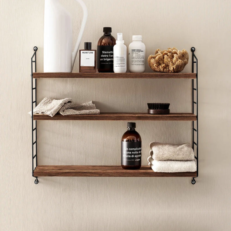 String Pocket shelving, walnut, black