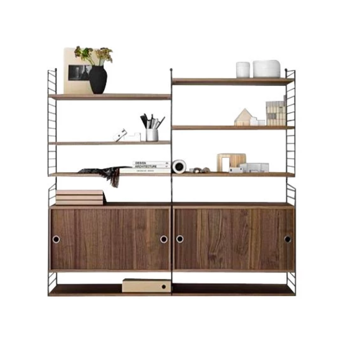 String Shelving Unit 2-Column Cabinet & Shelves Combo W160xD30xH150cm