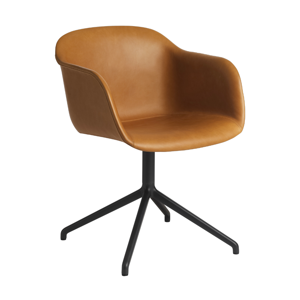 Muuto Swivel Base Fiber Armchair Cognac Black
