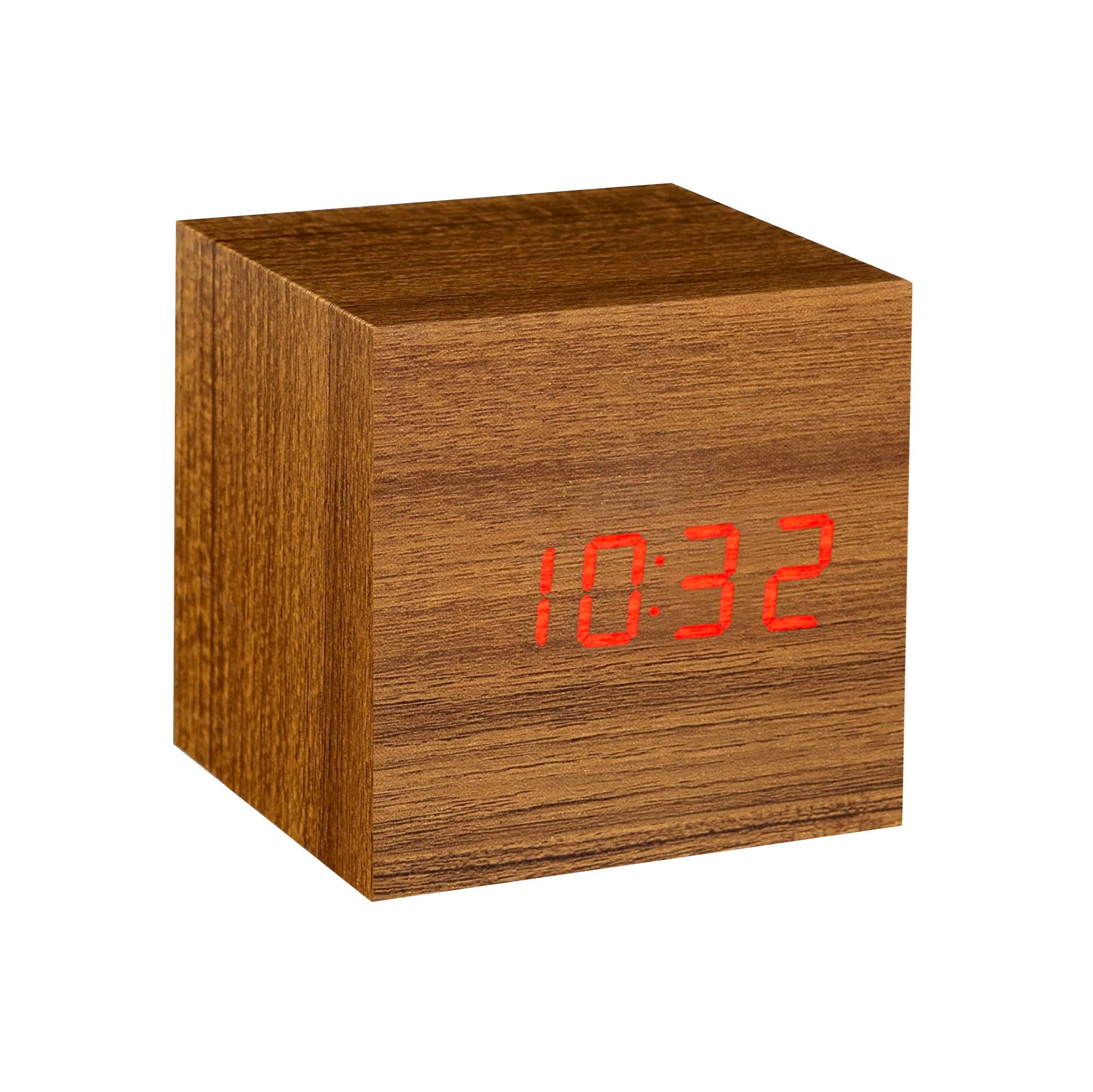 Gingko Cube Alarm Clock , Teak-Brown